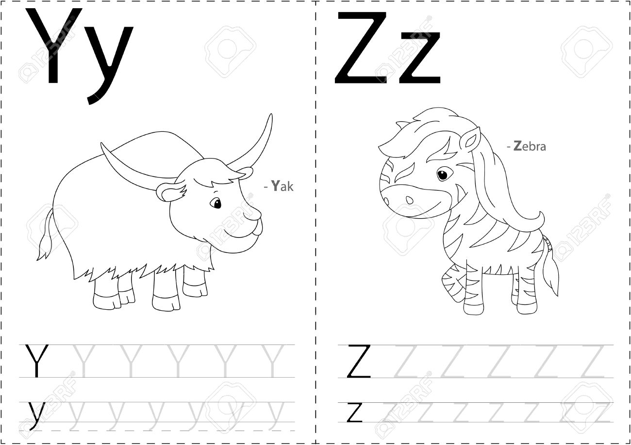 Cartoon Yak Und Zebra. Alphabet-Tracing-Arbeitsblatt: Schreiben AZ ...