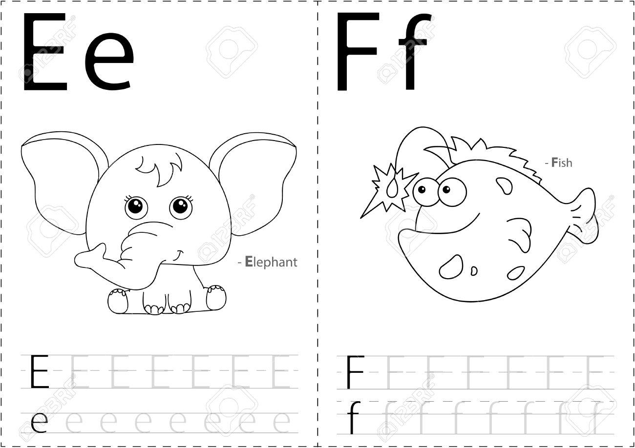 Cartoon Elefant Und Fisch. Alphabet-Tracing-Arbeitsblatt: Schreiben ...