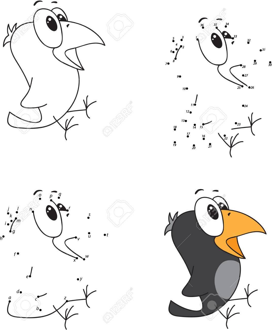 Cuervo Dibujos Animados Libro Para Colorear Y Punto A Punto Juego Educativo Para Niños