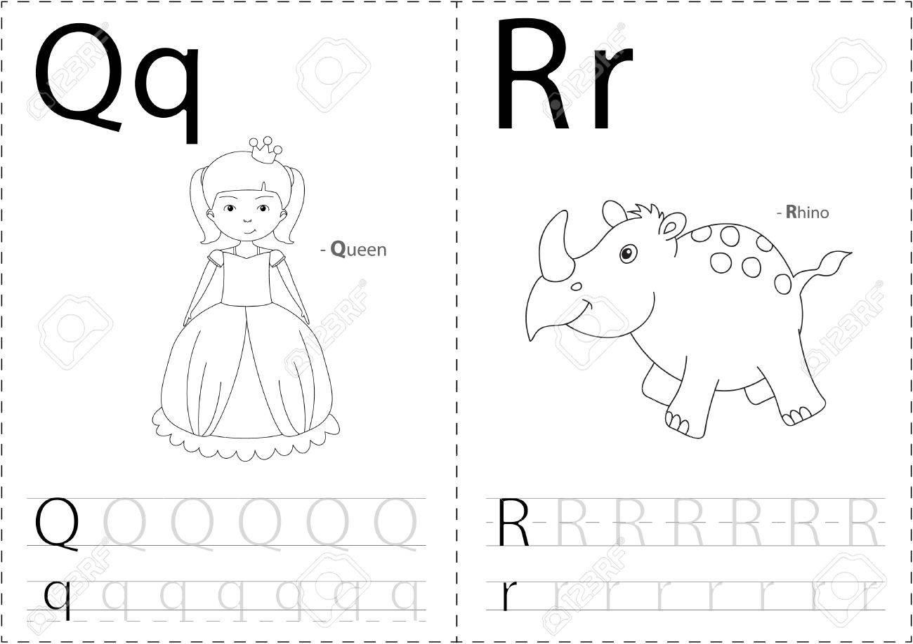 Cartoon Königin Und Nashorn. Alphabet-Tracing-Arbeitsblatt ...