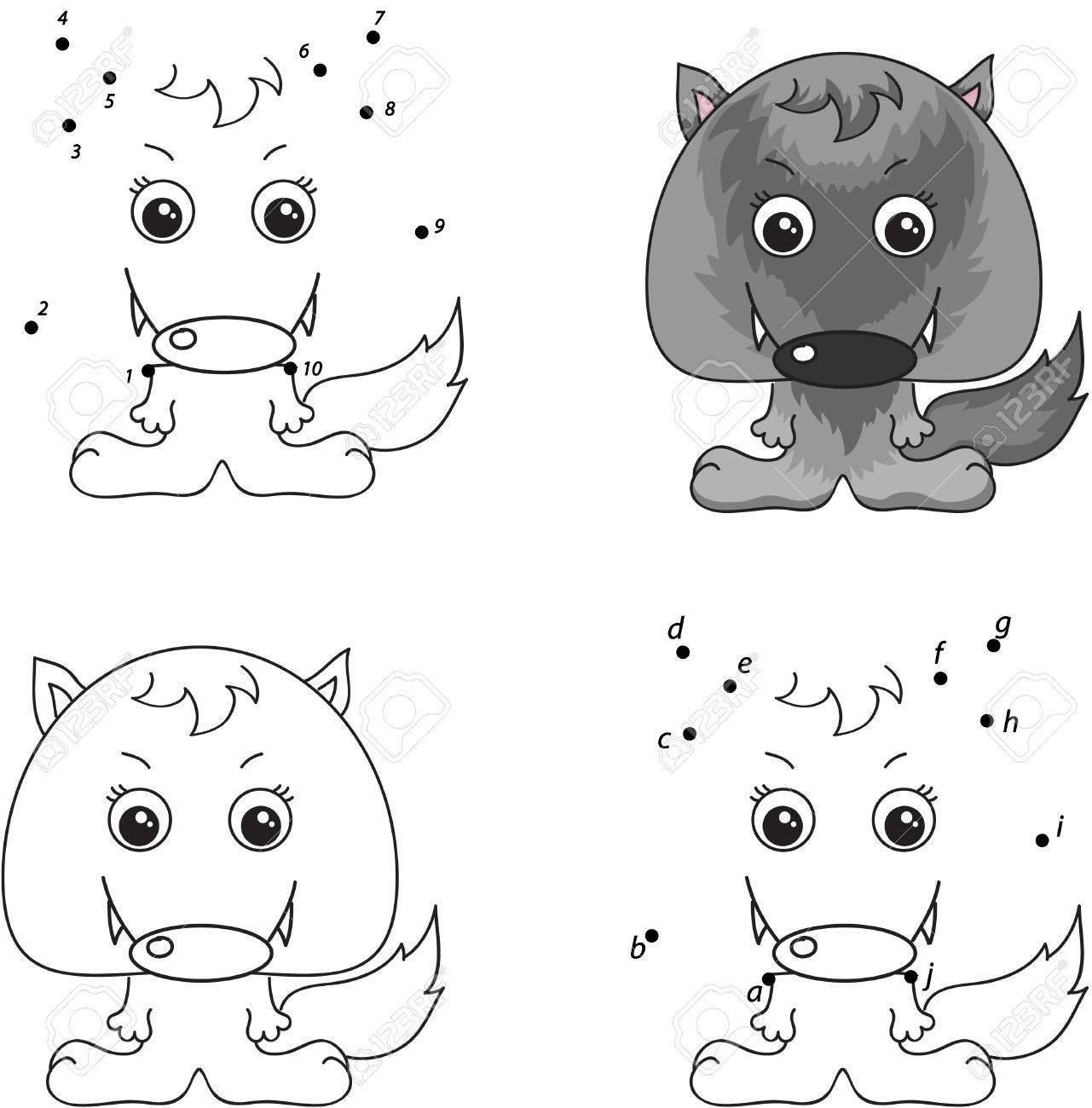 Cartoon wolf. Coloring book and dot to dot educational game for..