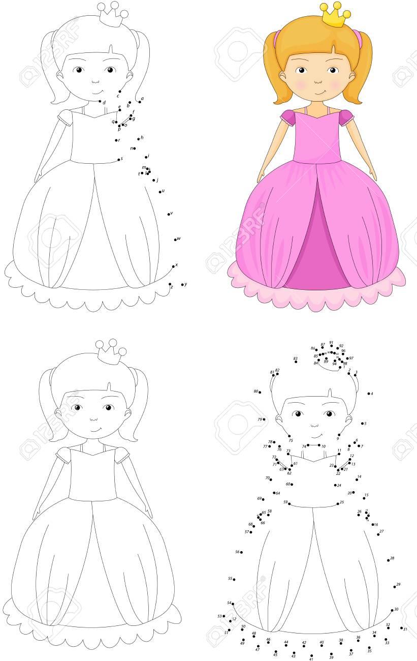 Princesa De Dibujos Animados Libro Para Colorear Y Punto A Punto
