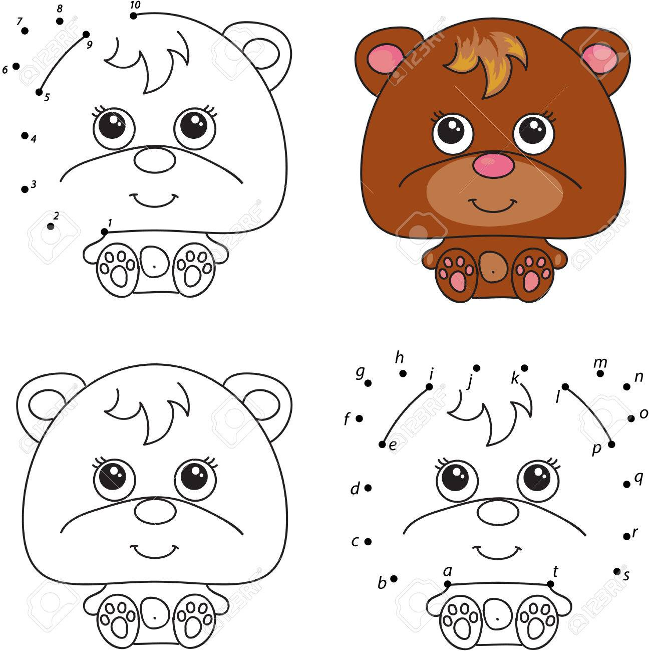 Oso De Dibujos Animados. Libro Para Colorear Y Punto A Punto Juego ...