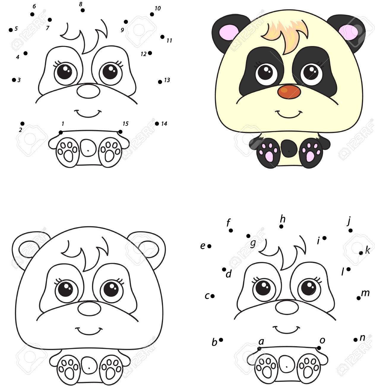 Cartoon Panda. Coloring Book And Dot To Dot Educational Game ...
