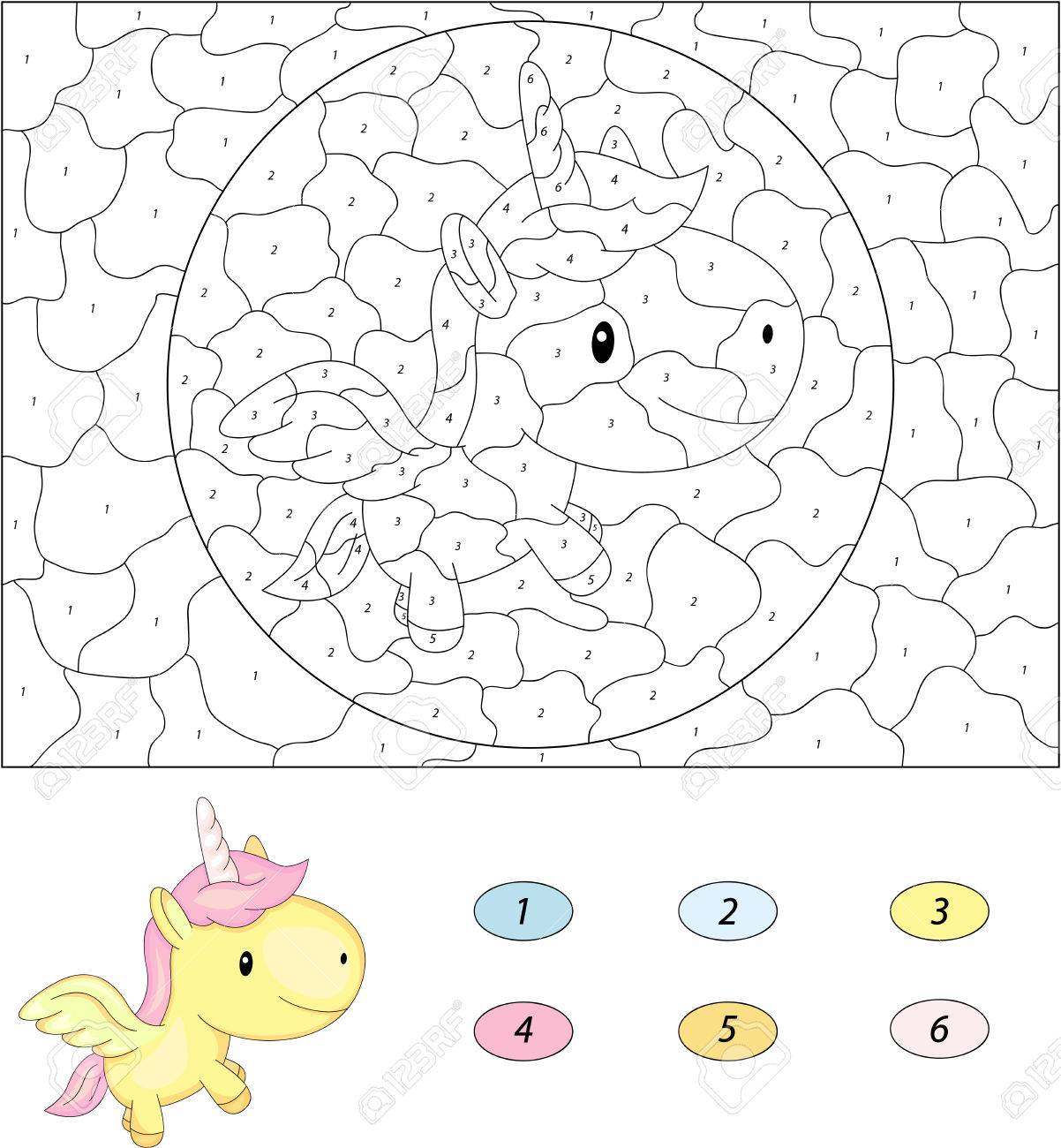 cartoon unicorn color by number educational game for kids