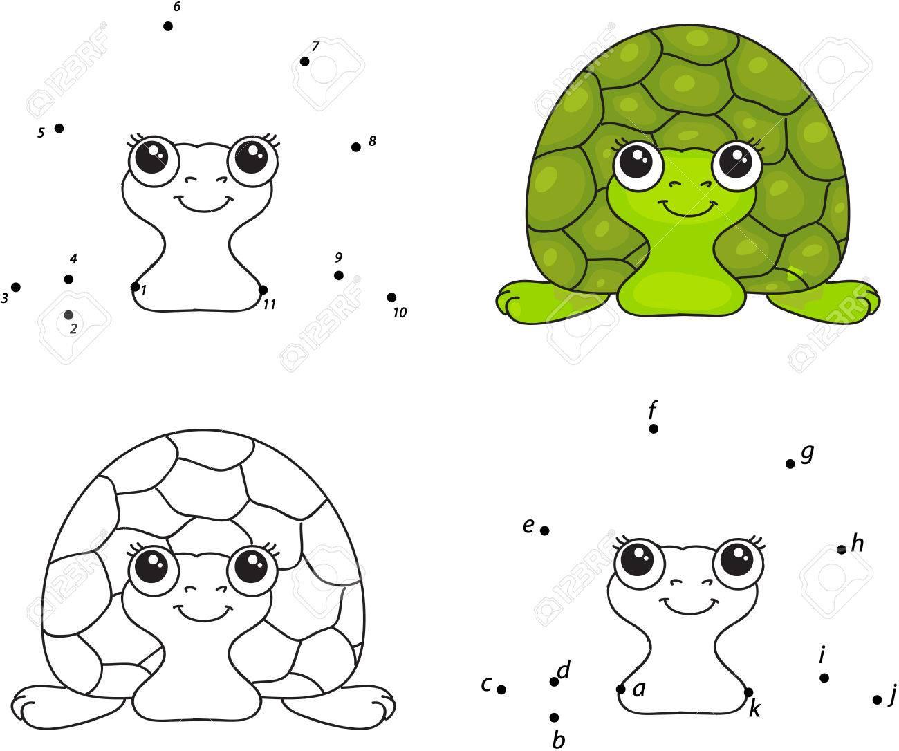 Cartoon Schildkröte. Malbuch Und Punkt Zu Punkt Lernspiel Für Kinder ...