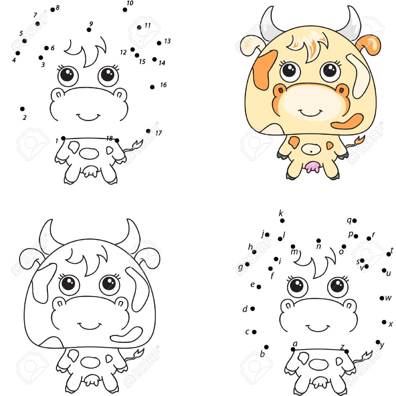 Funny And Cute Cow Coloring Book And Dot To Dot Educational