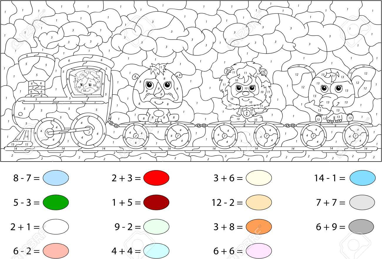 funny cartoon train with lion elephant and rhino color by number