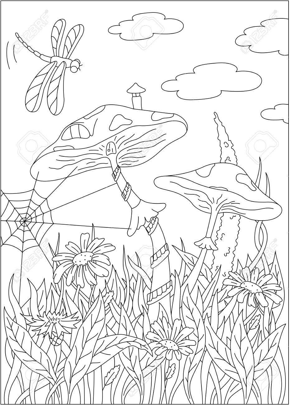 Coloriage Maison Dans La Foret.Cartoon Maison De Champignons Sur La Foret De L Herbe Une Libellule Dans Le Ciel Livre De Coloriage