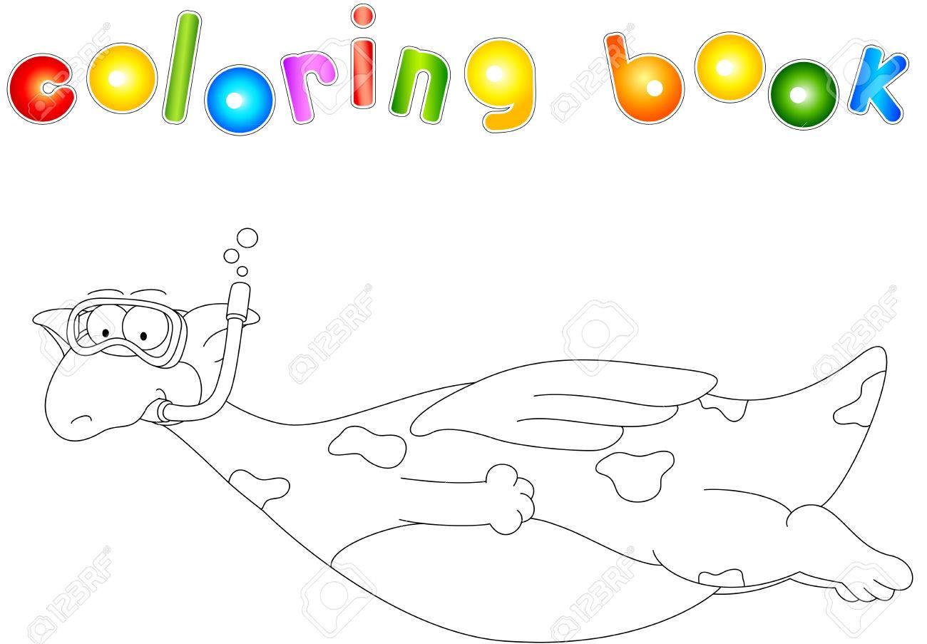 Buceador Dragón De Dibujos Animados. Libro Para Colorear Para Los ...