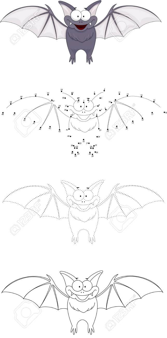 Cartoon Lustige Fledermaus Dot To Dot Bildungsspiel Für Kinder ...