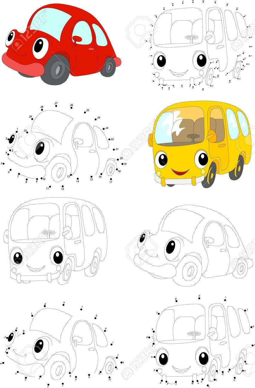 Cartoon Voiture Rouge Et Bus Jaune Livre De Coloriage Et Point A Point Jeu Educatif Pour Les Enfants