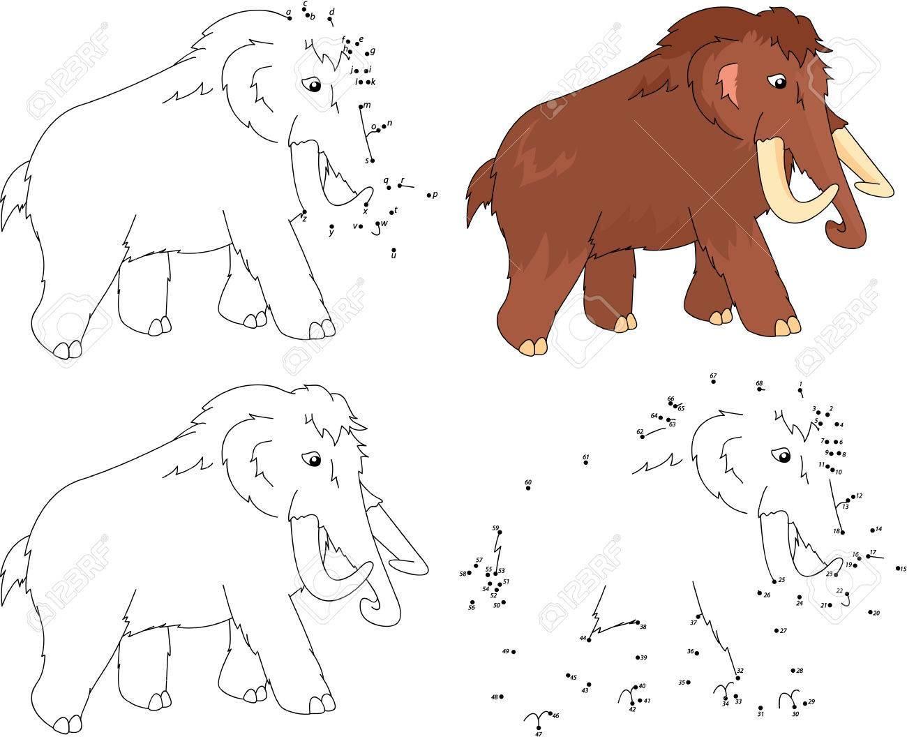 Mamut De Dibujos Animados Libro Para Colorear Y Punto A Punto Juego