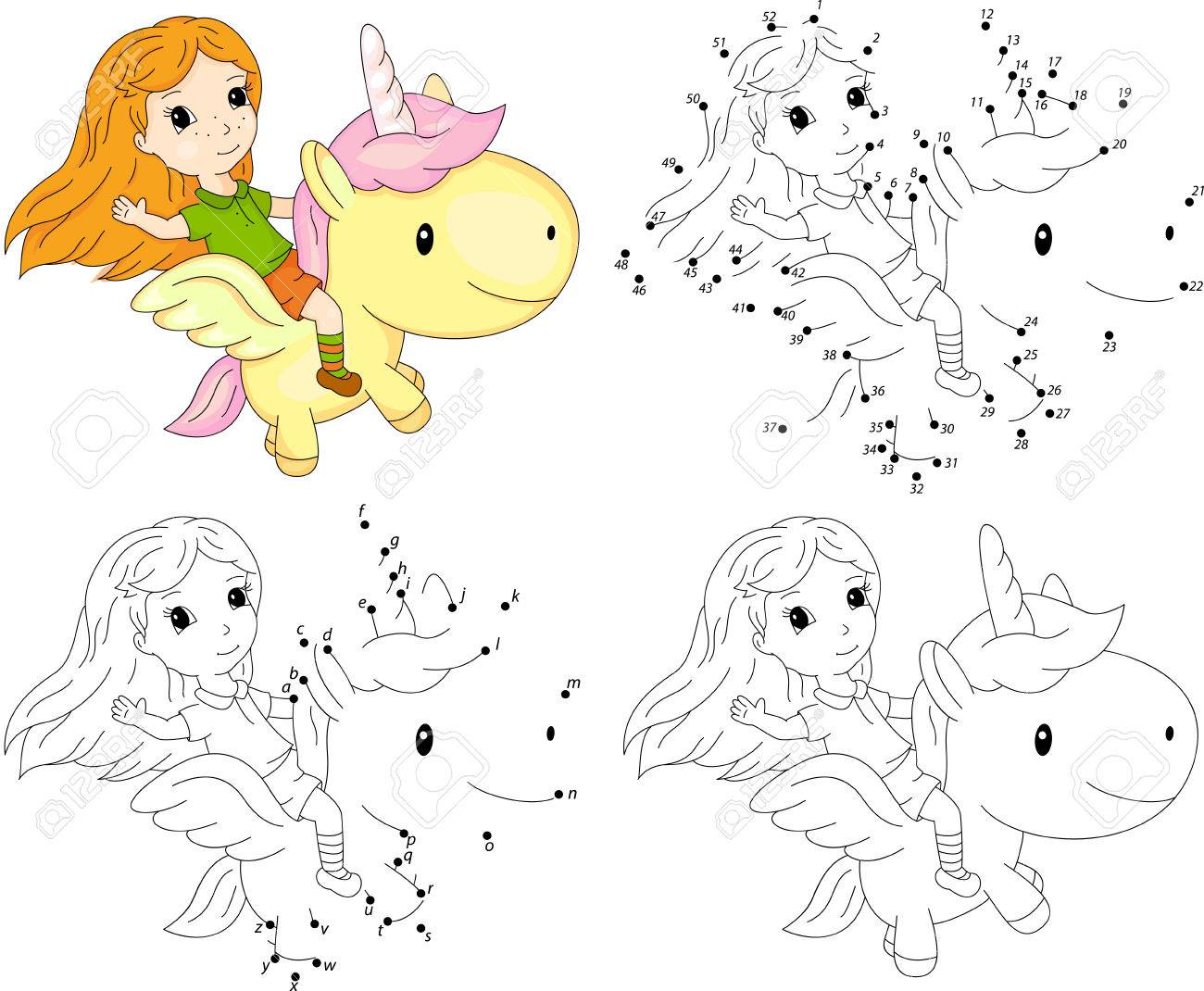 Girl And Unicorn. Coloring Book And Dot To Dot Educational Game ...
