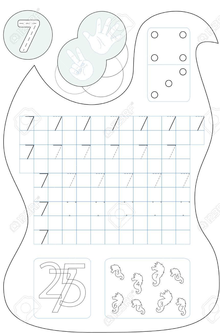 Número De La Página Para Colorear Siete Hoja De Trabajo Imprimible Para Preescolares Niños De Jardín De Infantes