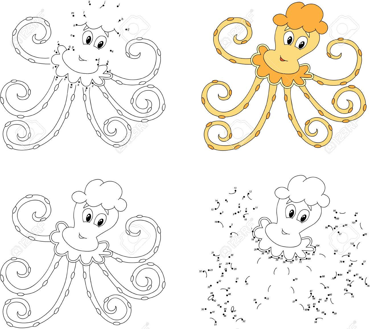 Lustige Karikatur Gelbe Krake. Färbung Buch Und Punkt Zu Punkt ...