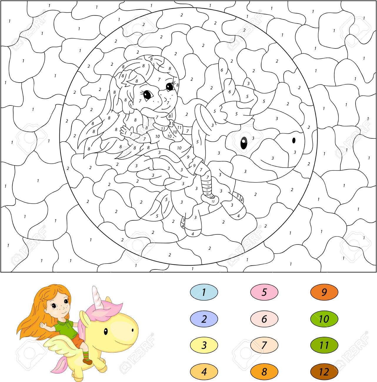 Game color by numbers - Long Haired Girl Flying On A Fairy Unicorn Color By Number Educational Game For