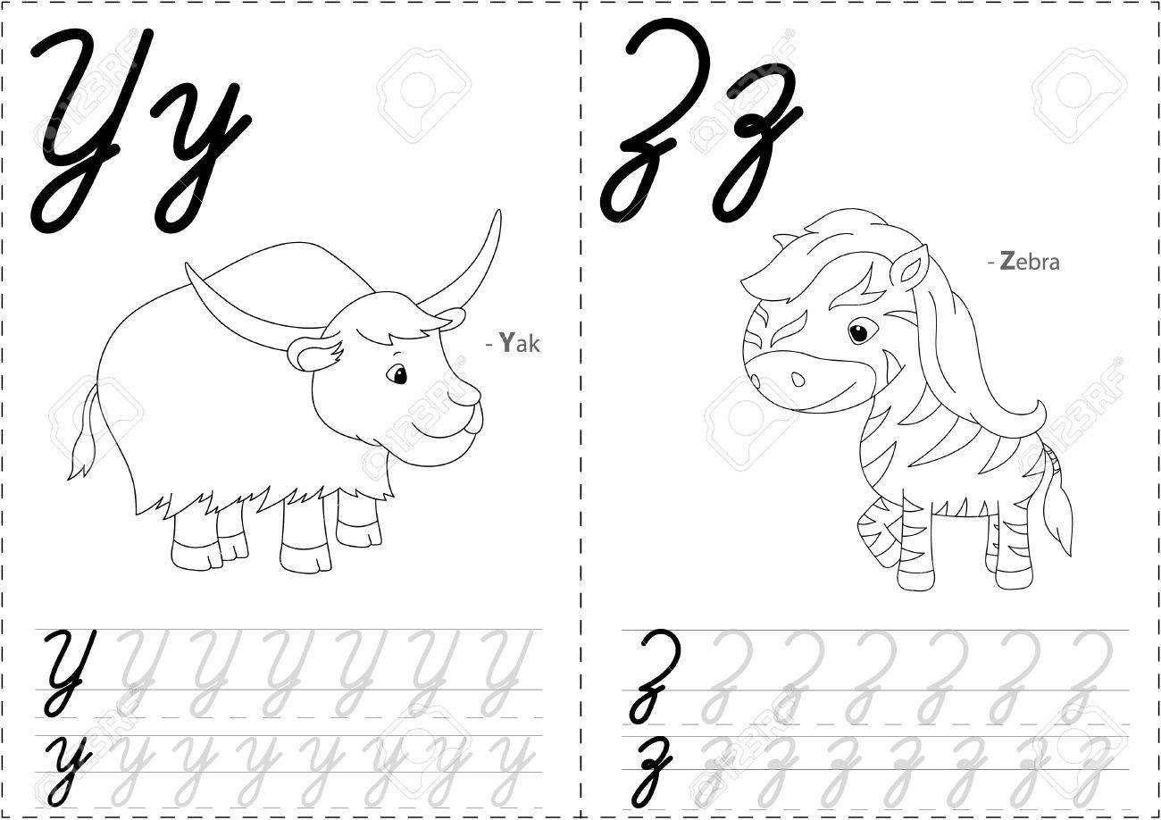 Yak De Bande Dessinee Et Le Zebre Alphabet Tracage Feuille