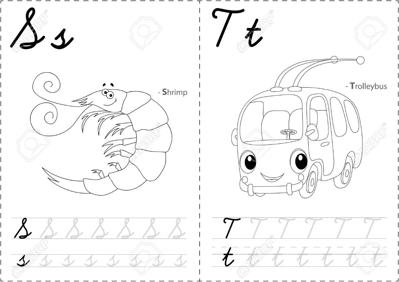 Cartoon Garnelen Und Trolleybus. Alphabet-Tracing-Arbeitsblatt ...