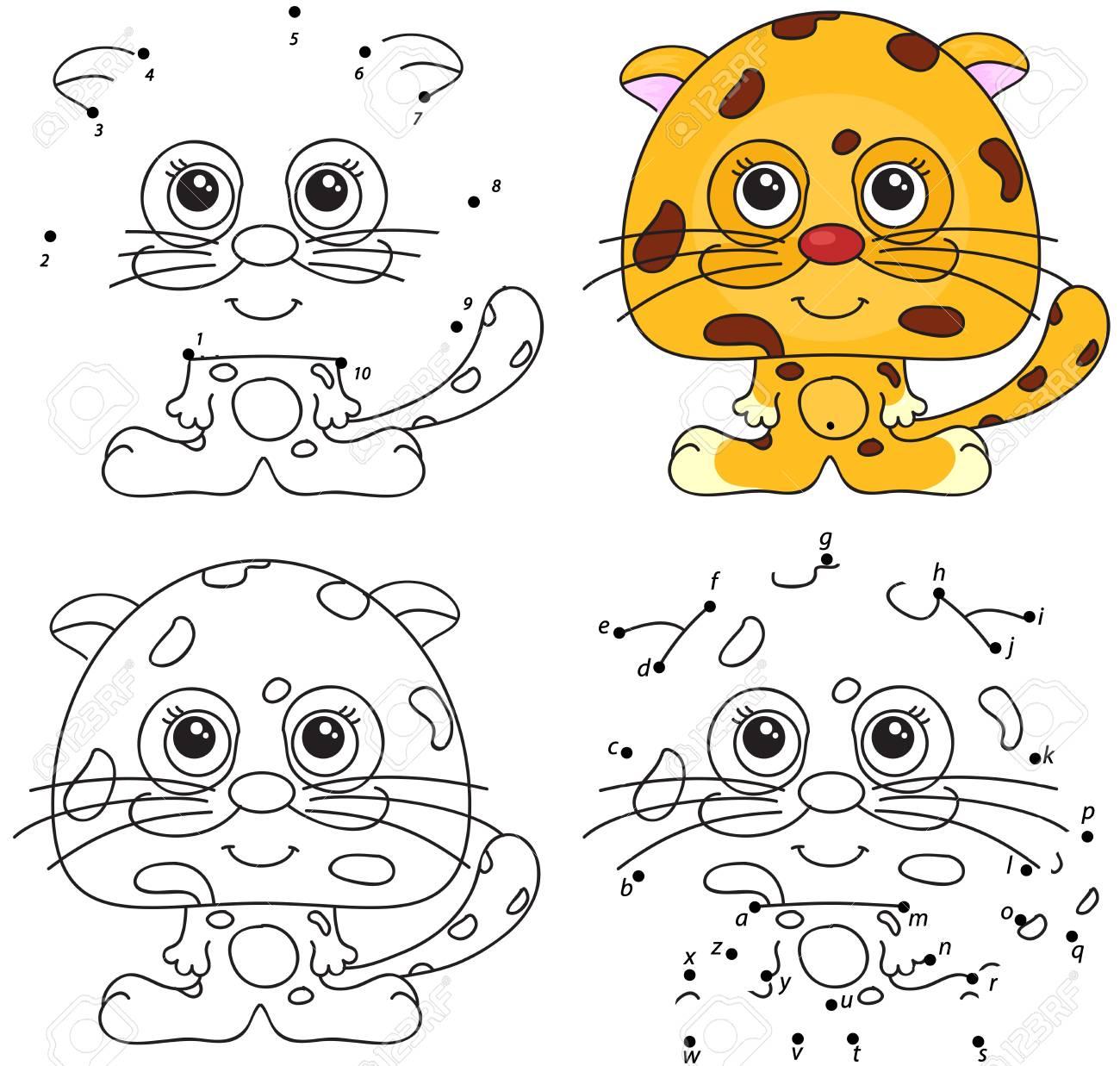 Jaguar De Dibujos Animados Libro Para Colorear Y Punto A Punto Juego Educativo Para Niños