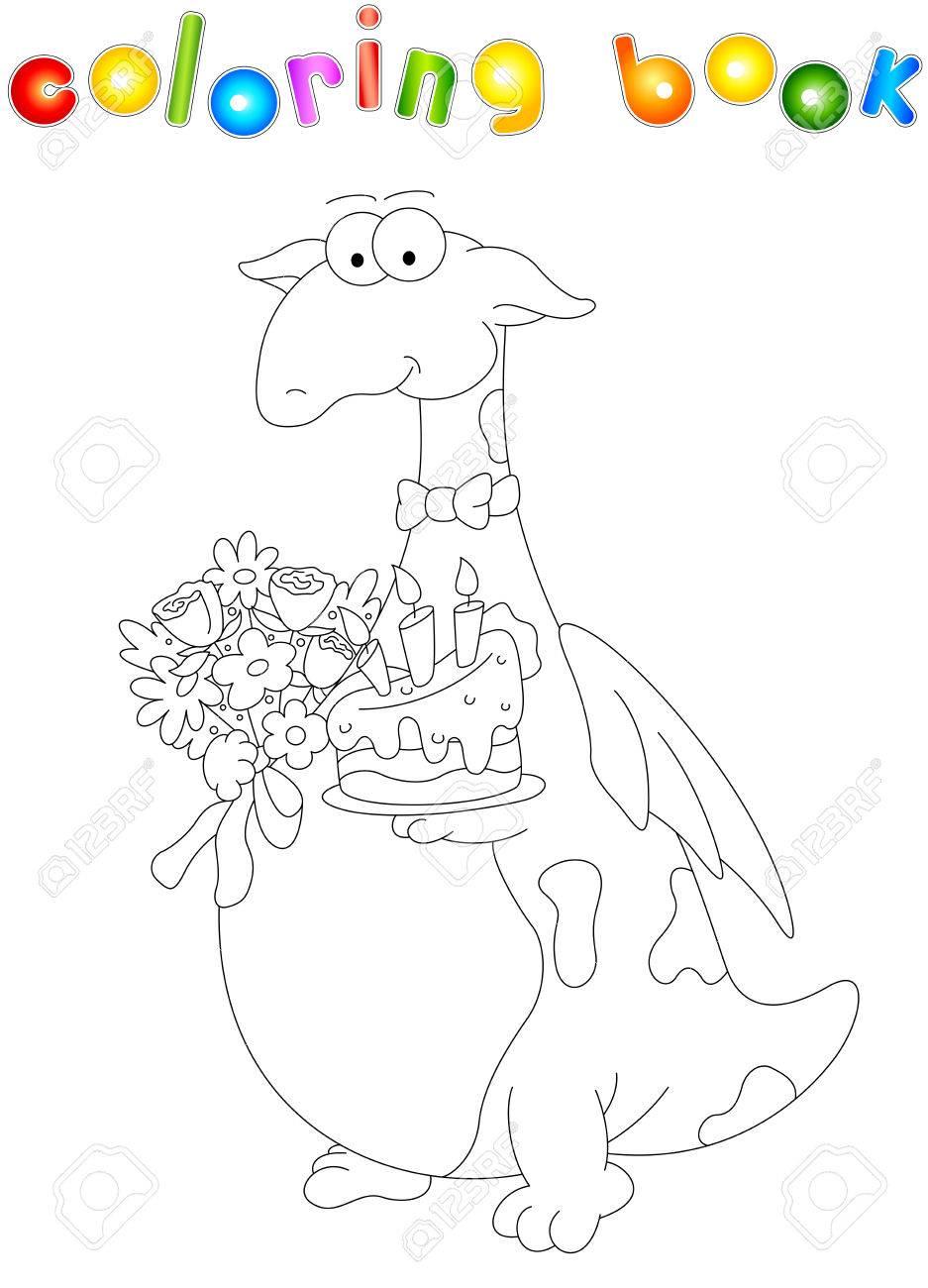 Dragón De Dibujos Animados Con Un Pastel Y Flores. Libro Para ...