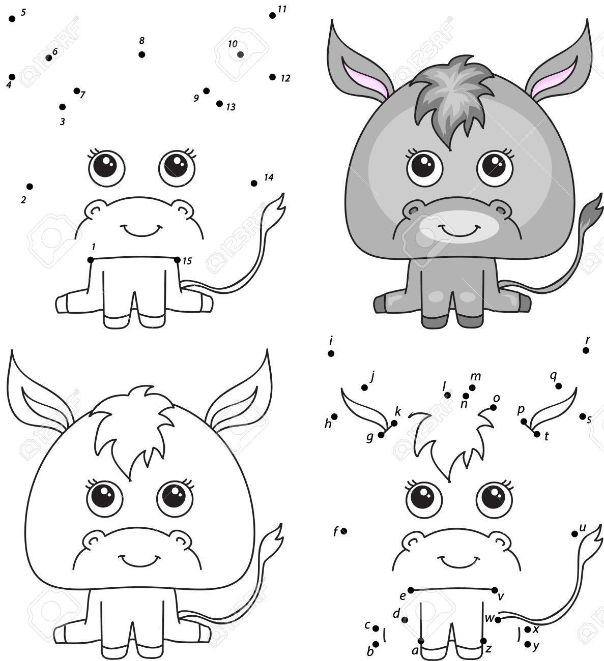 Burro De Dibujos Animados Libro Para Colorear Y Punto A Punto Juego Educativo Para Niños