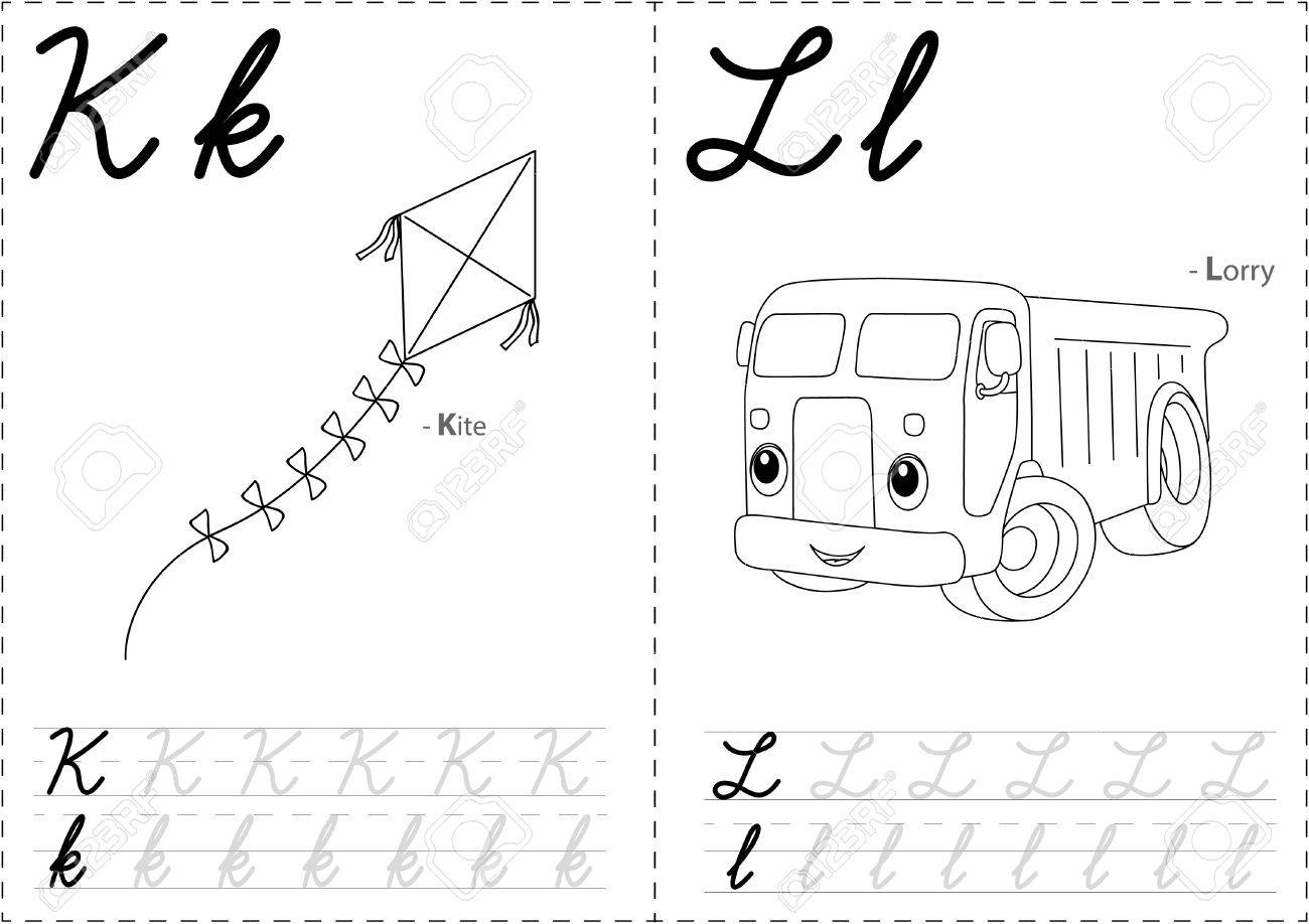cartoon kite and lorry alphabet tracing worksheet writing a z