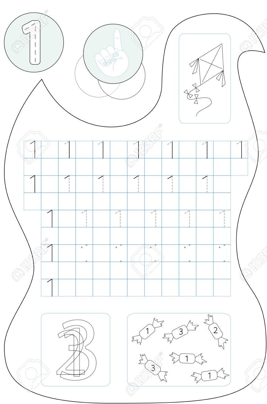 Coloring Page Number One Printable Worksheet For Preschool ...