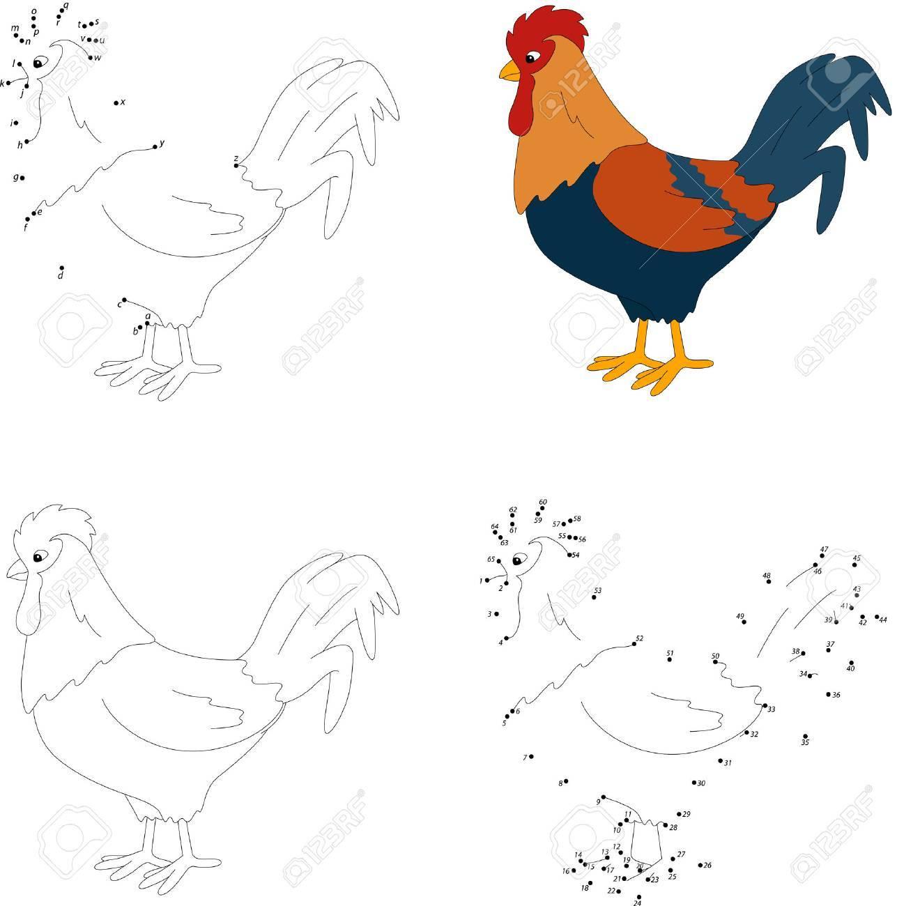 De Dibujos Animados Gallo Colorido Libro Para Colorear Y Punto A