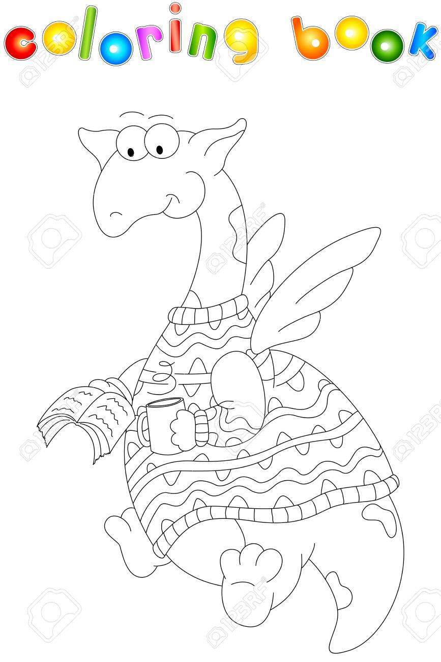 Dragon De Dessin Animé Dans Un Chandail Lit Un Livre Livre De