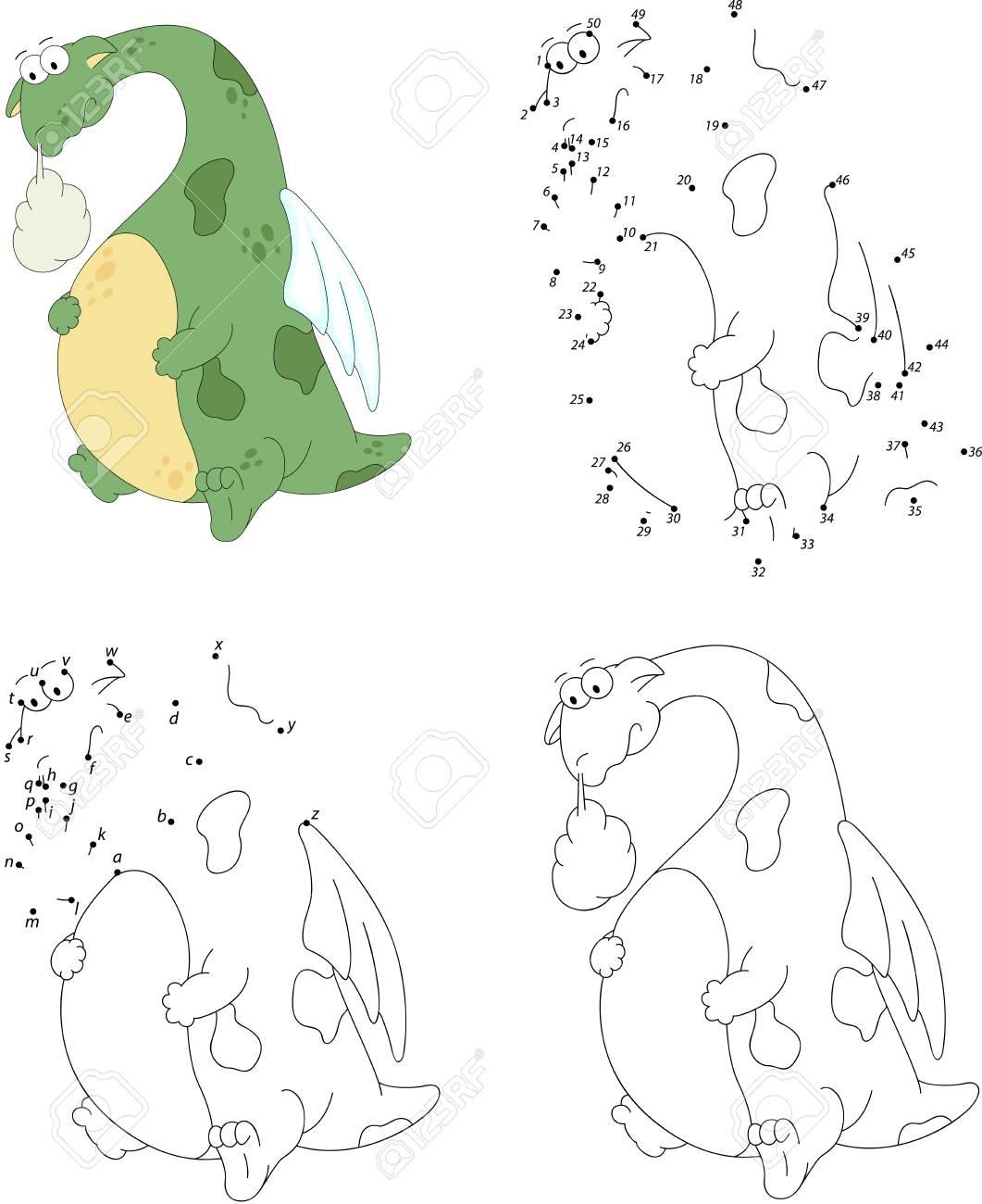 Dragón De Dibujos Animados Con Un Estómago Enfermo Libro Para