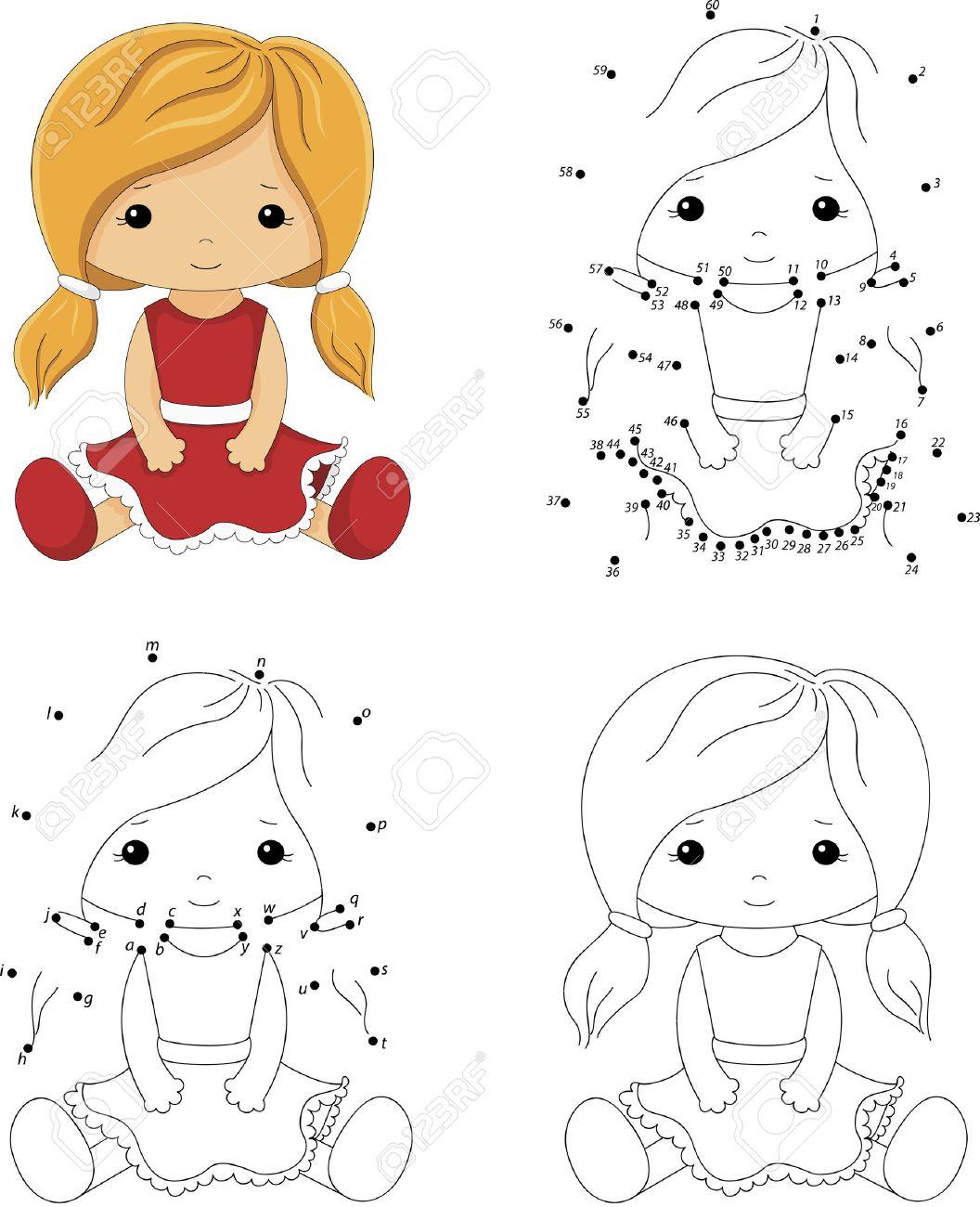 Muñeca De Dibujos Animados En Un Vestido Rojo. Libro Para Colorear Y ...