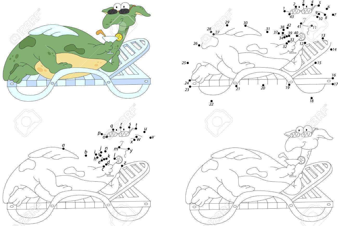 Dragón De Dibujos Animados Se Encuentra En Una Tumbona Y Bebe Un ...