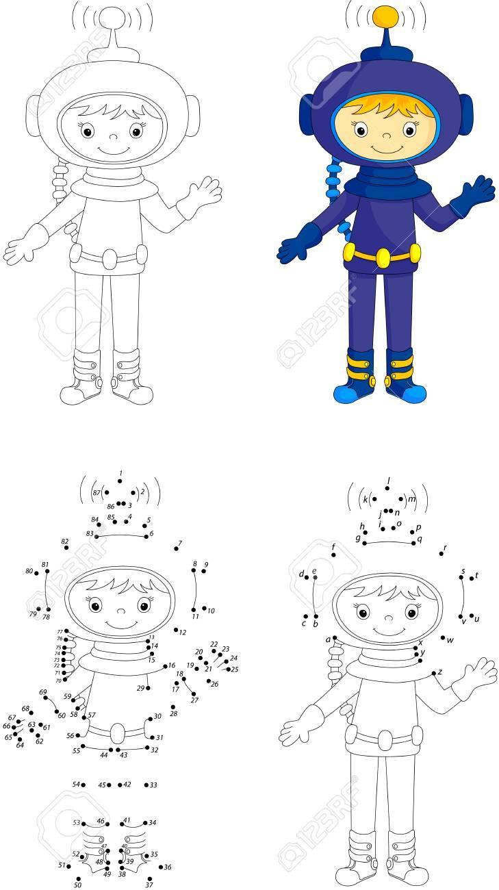 Astronauta De Dibujos Animados. Libro Para Colorear Y Punto A Punto ...