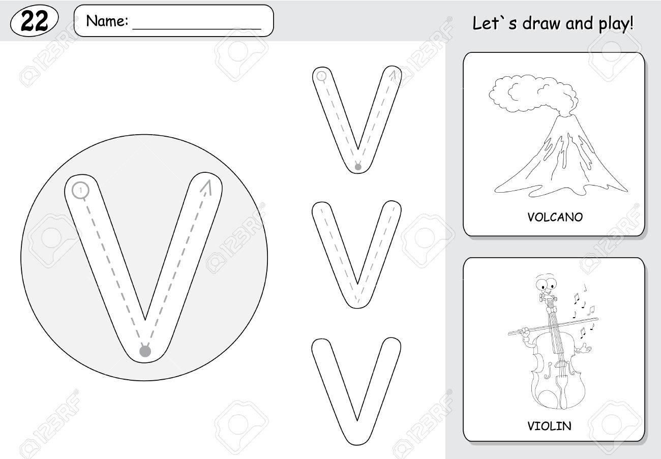 Jeux Coloriage Alphabet.Volcan Dessin Anime Et Violon Alphabet Tracage Feuille Ecriture Az