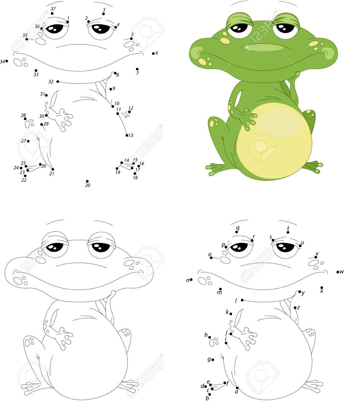 Cartoon Green Frog. Coloring Book And Dot To Dot Educational ...