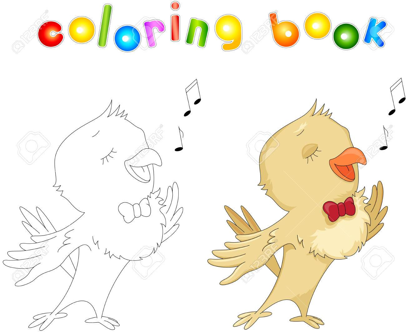 Cartoon Nightingale Coloring Book Isolated On White Stock Vector