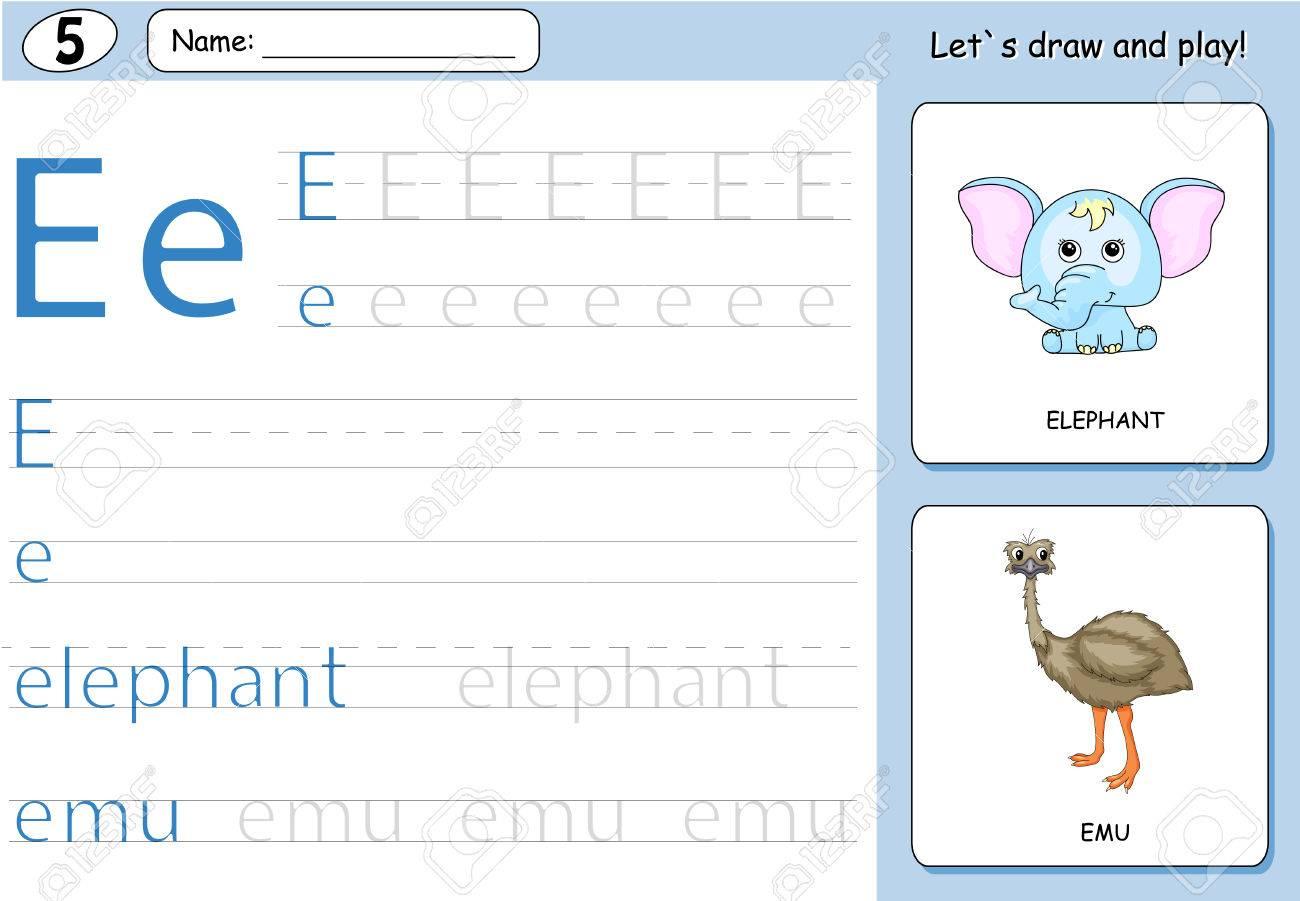 Cartoon Elefant Und Emu. Alphabet-Tracing-Arbeitsblatt: Schreiben AZ ...