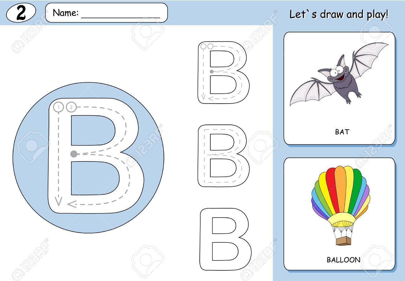 Cartoon-Schläger Und Ballon. Alphabet-Tracing-Arbeitsblatt ...