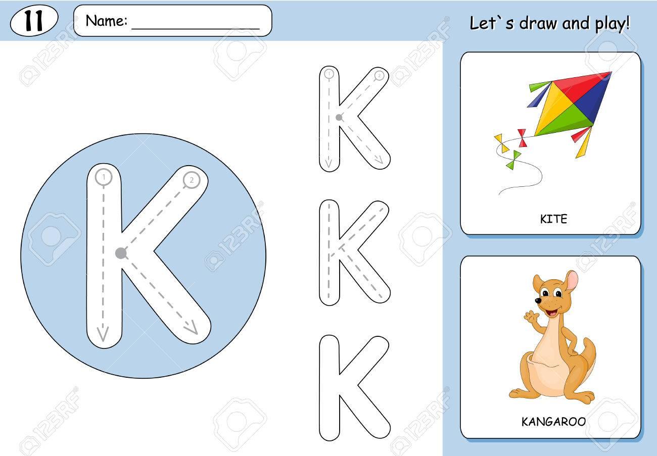 Cartoon Drachen Und Känguru. Alphabet-Tracing-Arbeitsblatt ...