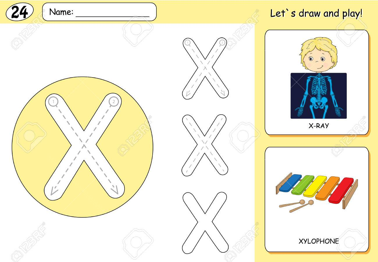 Cartoon X Ray Boy And Xylophone Alphabet Tracing Worksheet