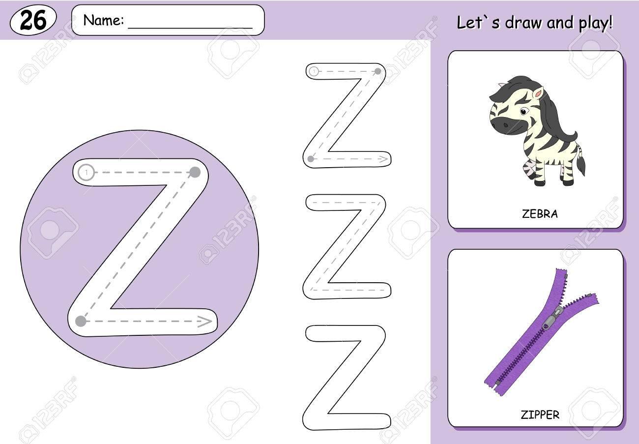 Cartoon Zebra Und Reißverschluss. Alphabet Tracing Arbeitsblatt ...