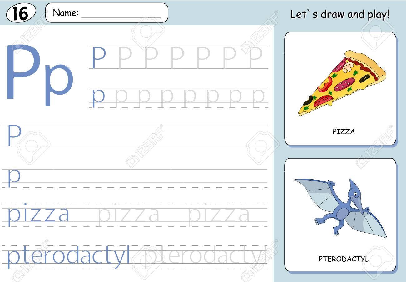 Pizza De La Historieta Y El Pterodáctilo. Alfabeto Del Trazado Hoja ...