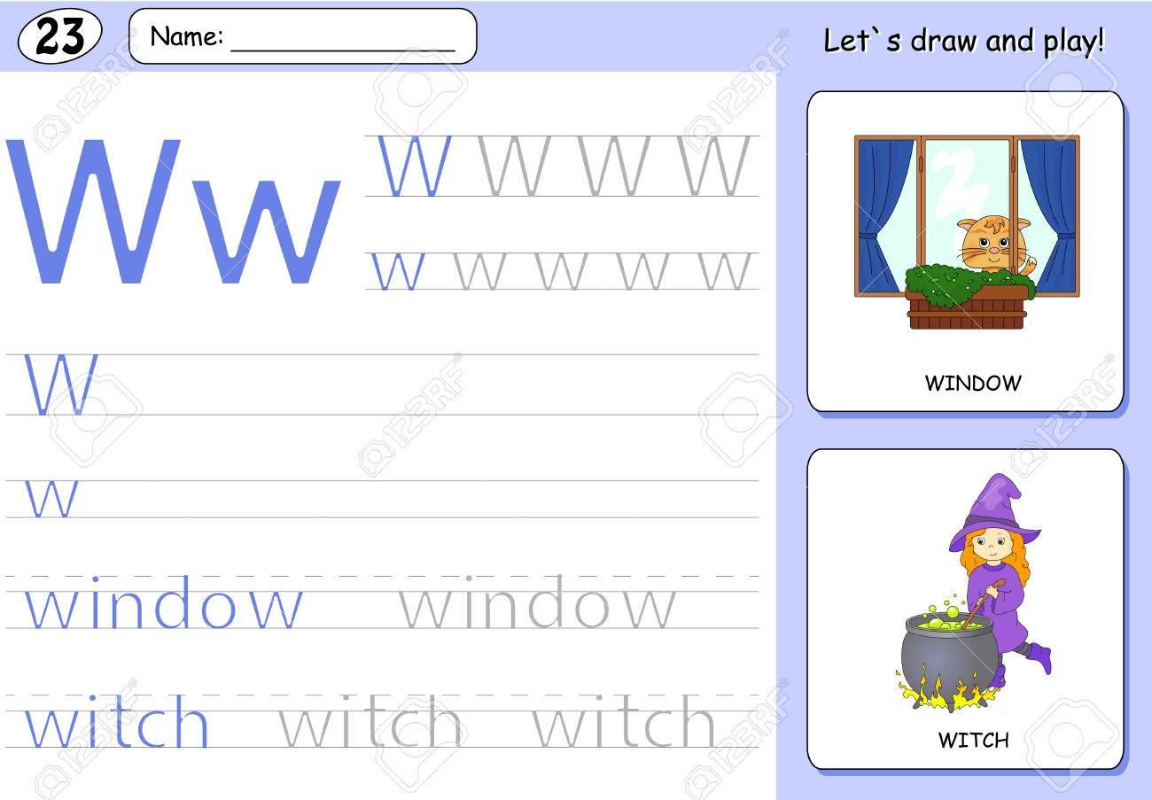 Cartoon Witch And Window. Alphabet Tracing Worksheet: Writing ...