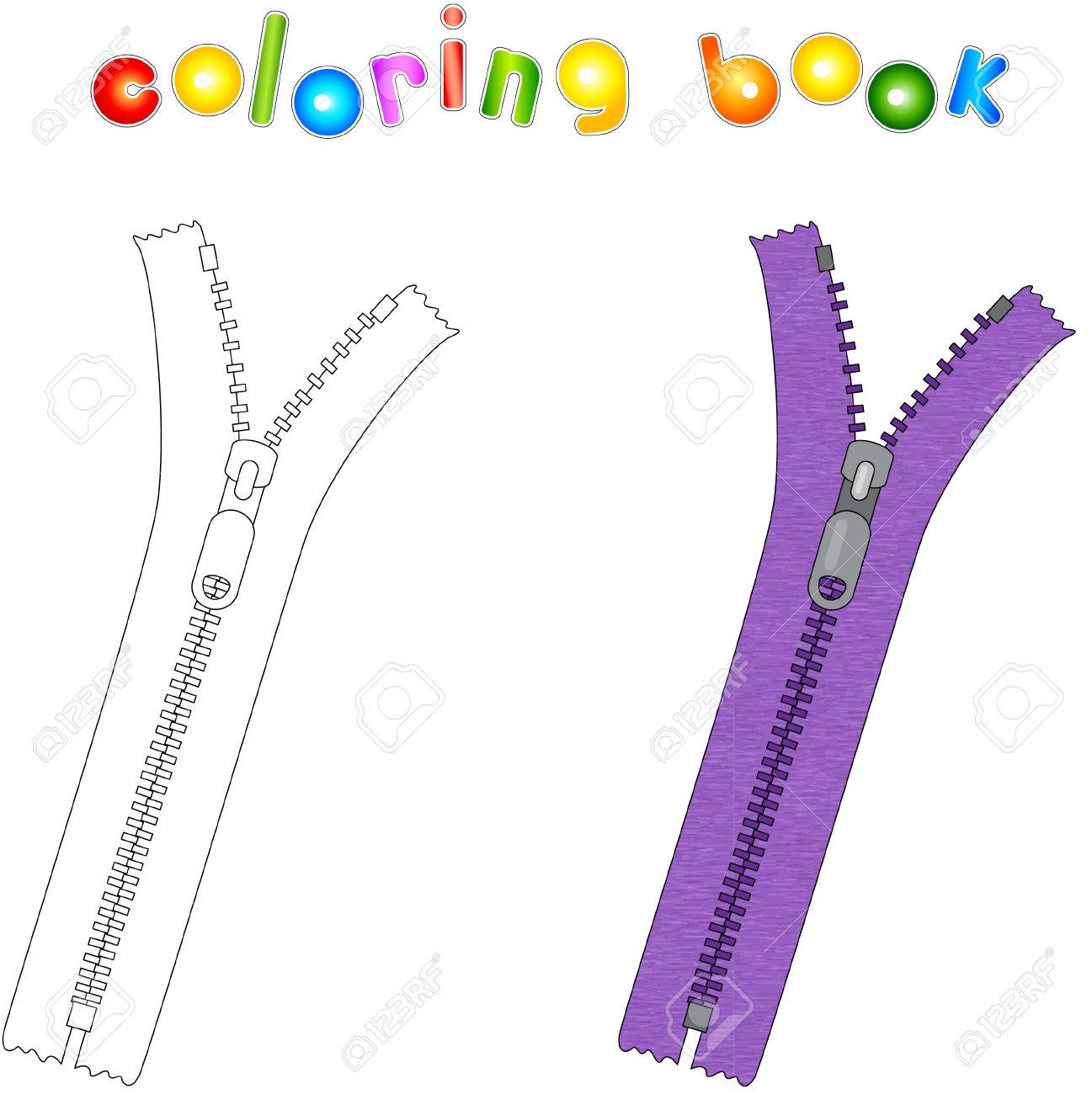 Cartoon Zipper Coloring Book For Kids Royalty Free Cliparts