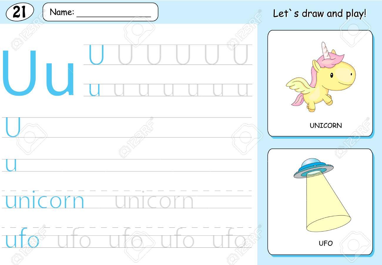 Coloriage Licorne Jeux.Cartoon Licorne Et Ufo Alphabet Tracage Feuille Ecriture Az Livre De Coloriage Et De Jeux Educatifs Pour Les Enfants