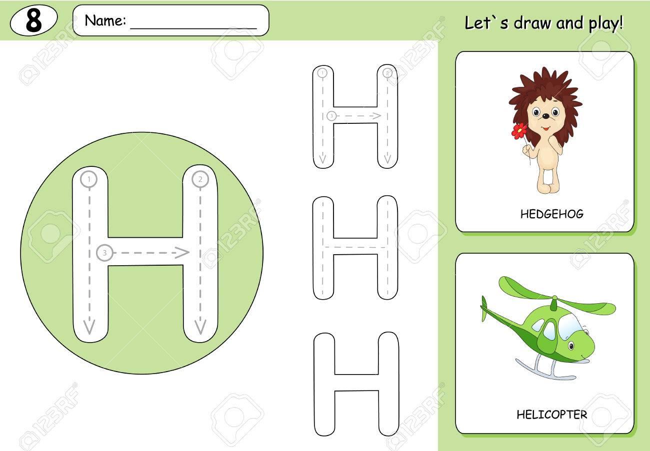 Cartoon Hedgehog And Helicopter. Alphabet Tracing Worksheet ...