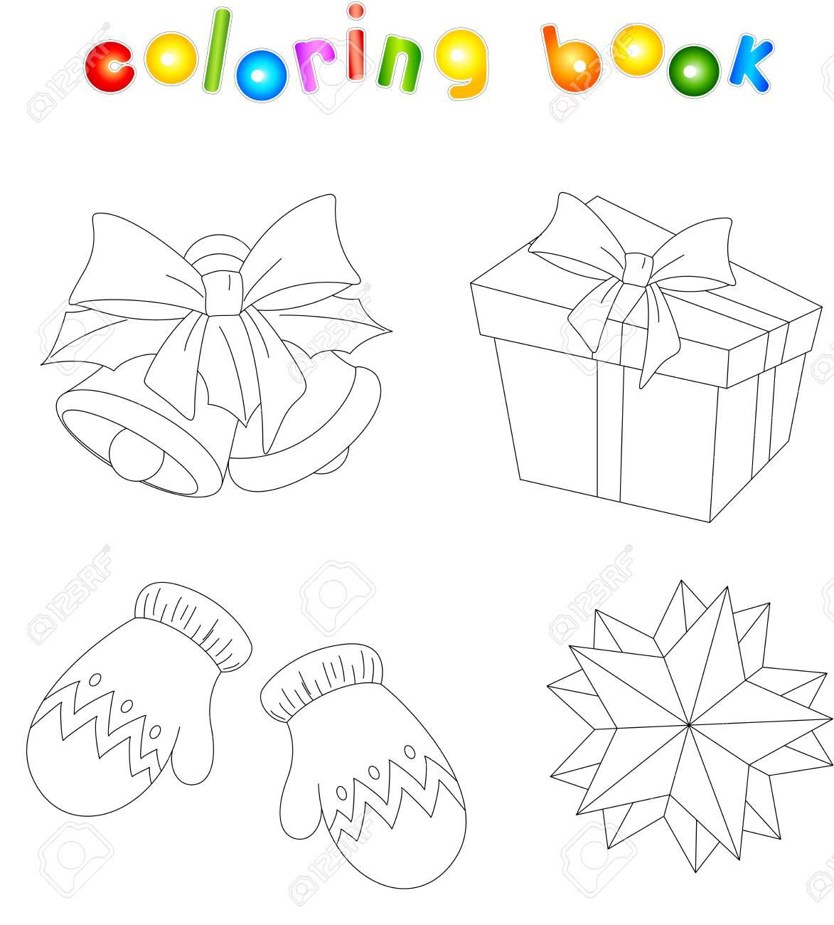 Campanas De Navidad, Mitones, Regalos Y Estrellas. Libro De Colorear ...