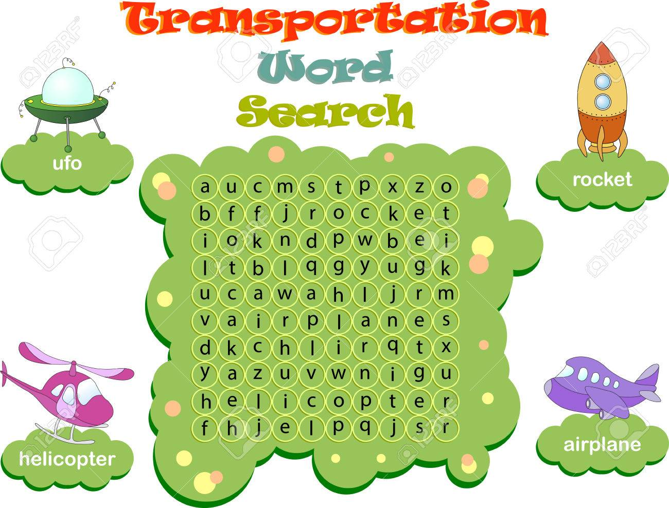 Logic Game For Learning English Find The Hidden Transportation