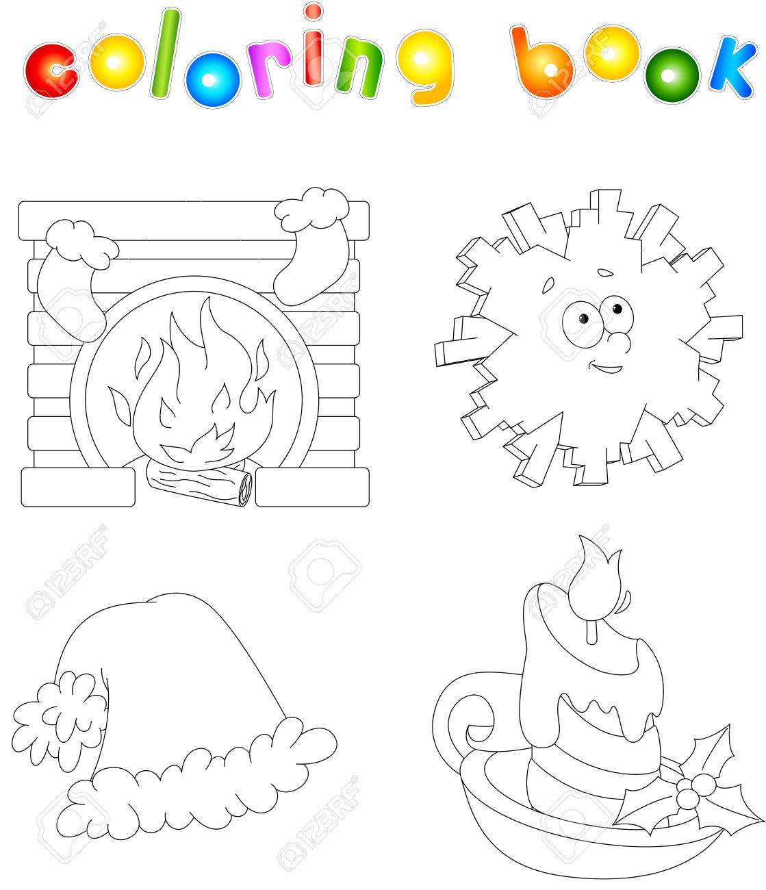 Christmas fireplace, snowflake, hat and candle. Coloring book..